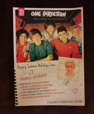 """ONE Direction : """"What Makes You Beautiful"""" promo Postcard 1D (2011) Niall Horan"""