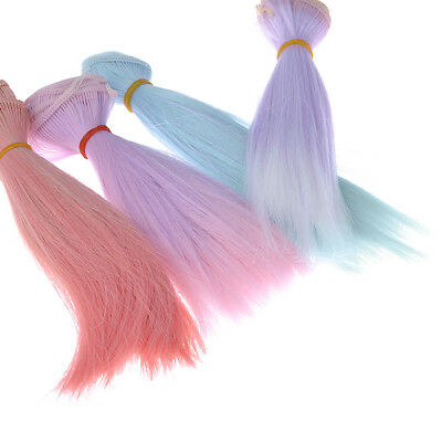 Long Straight Gradient Color Dolls False Hair Hairpiece DIY Wig For BJD Doll