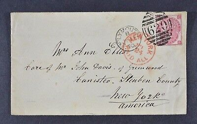 QV, cover to New York with 3d rose value SG 103 plate 6,  postmark JY 11 70