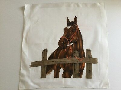 Vintage Hankie Horse at a fence