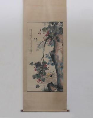 Chinese Hand Painted Painting Flower And Mandarin Duck Scroll Lu Liufei (290)