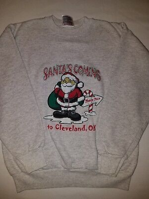 Kids Sweatshirt Santa's Coming To Cleveland OH Size Large 10-12 14-16 Grey