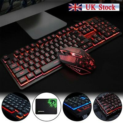WIRED GAMING KEYBOARD And Mouse Set Kit LED For PC PS4 Macbook Laptop TV  Pad New