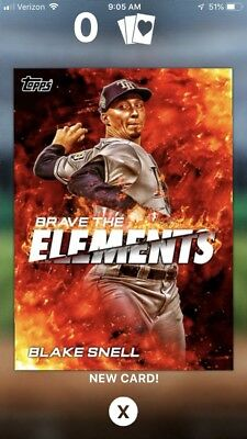 2018 Topps Bunt Brave The elements Blake Snell Digital Insert Card