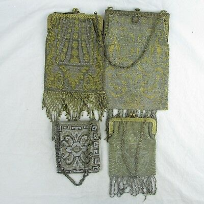 Silver Plated Mesh Handbag Antique Lot of 4 Ornate Steel Bead Art Deco 1920's