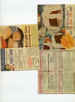 Betty Crocker Gold Medal Flour Bags Inserts lot 2 from early 1940's. recipes etc