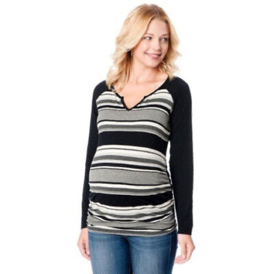 Womens Maternity Oh Baby by Motherhood Black Gray Top Long Sleeve Striped Sz M