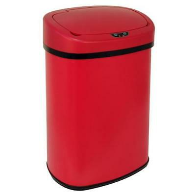 13 Gallon Touch Free Sensor Automatic Touchless Trash Can Garbage Kitchen Red