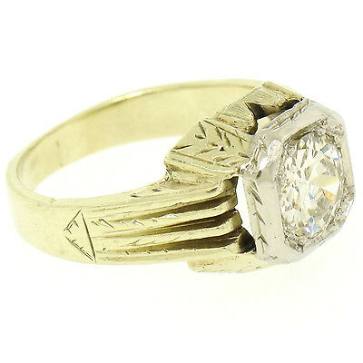 Antique Deco Etched Unisex 14k TT Gold .86ct Old European Diamond Solitaire Ring