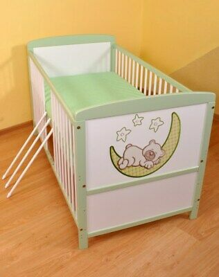 NEW WHITE-BROWN 2in1 COT-BED 140x70 no 9 - RRP 119,00 GBP