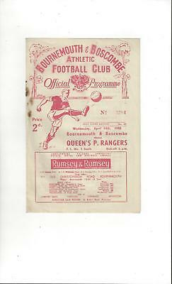 Bournemouth v QPR Football Programme 1947/48