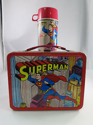 1967 DC's SUPERMAN Metal Lunchbox with thermos by KST – Good Condition