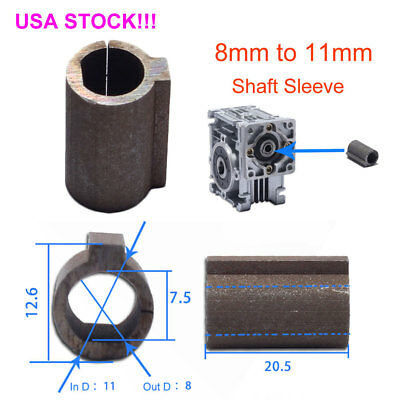 8mm to 11mm Shaft Sleeve Bore Adapter for Stepper Motor Worm Planetary Gearbox