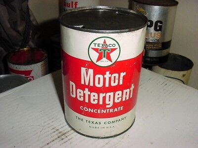 Early 1950s Era Vintage TEXACO MOTOR DETERGENT MOTOR OIL Old 1 qt Tin Can