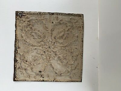 "Vintage Tin Ceiling Tile Architectural Salvage Piece 12"" by 12"""