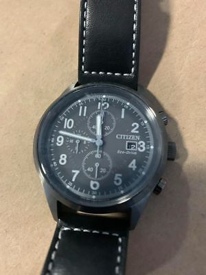 Citizen Eco-Drive CA0627-09H Men's Gray-Dial Black Leather Chrono Watch 7.5/10