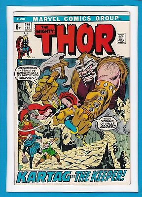 "Mighty Thor #196_Feb 1972_Very Fine+_""kartag...the Keeper""_Bronze Age Marvel_Uk!"