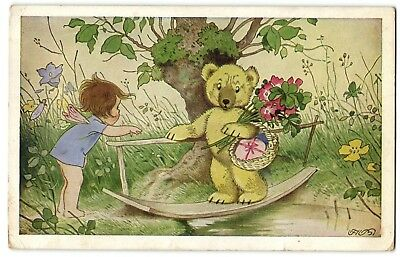 scared TEDDY BEAR crossing water little elf girl helping postcard 1955