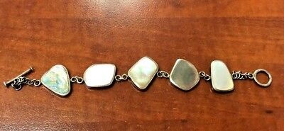 """Sterling Silver Toggle Clasp Bracelet 7"""" with Multiple Different Stones  [12HiW]"""