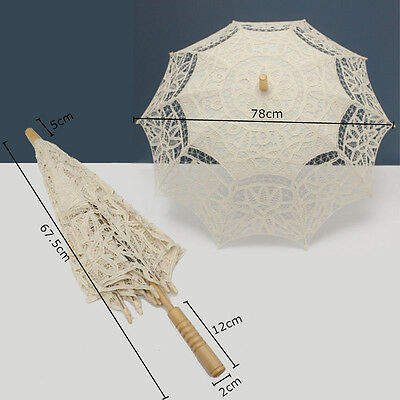 Ivory White Lace Pure Cotton Embroidery Wedding Umbrella Bridal Parasol  HOT