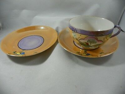 Hand Painted Vintage Lusterware Cup And  2 Saucers Made In Japan
