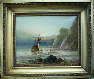 FINE 19thC COASTAL SUNSET Unloading The Catch Nr ILFRACOMBE Antique Oil Painting