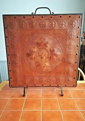 !!REDUCED!! Hide/Leather Covered Fire Screen. Gothic/Medieval Revival. 1850-75.