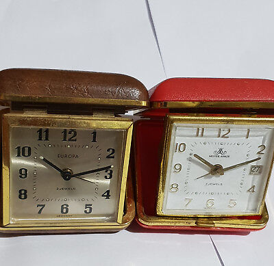 Europa and Meister Anker lot Vintage 2 Jewels Travel Alarm Clock Made in Germany