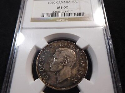 Q6 Canada 1950 50 Cents NGC MS-62