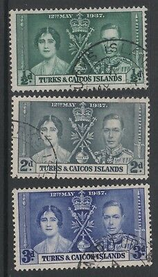 1937 Coronation Stamps From The Turks & Caicos Islands. Good To Fine Used.