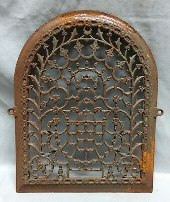 One Antique Arched Top Heat Grate Grill Stars Flowers Pattern Arch 11X14 639-18C