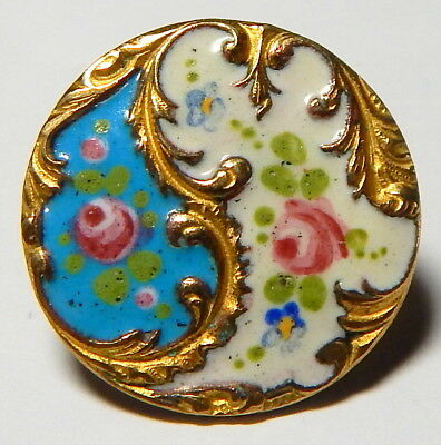 """ANTIQUE 1"""" FRENCH ROBIN'S EGG BLUE+WHITE CHAMPLEVE ENAMEL BUTTON w/POSY FLOWERS"""
