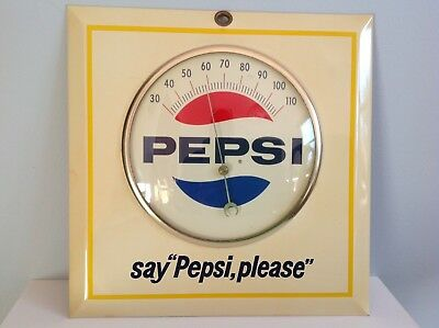 "Vintage Enamel Metal Pepsi Thermometer ""Say Pepsi Please"" Soda Advertising"