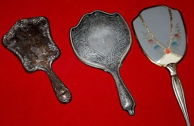 Vintage Hand Mirrors ~ Lot of 3, All Metal