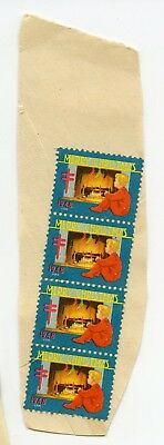 Christmas Seals Stamps Vintage 1948 Merry Christmas TB Block 4 boy red PJ's