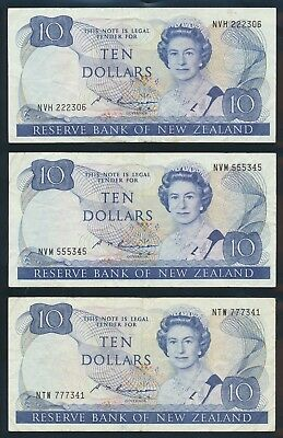 """New Zealand: 1985 $10 Russell SCARCE TRIO """"LUCKY NOS 222, 555 & 777"""". Pick 172b"""