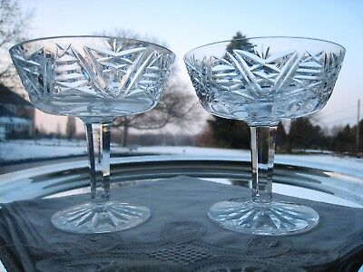 "Waterford Irish Crystal..clare Pattern..two 4 1/4"" Coupe Champagnes.. Signed."