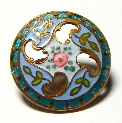 STUNNING ANTIQUE PIERCED GILT CHAMPLEVE ENAMEL BUTTON w/HAND PAINTED ROSE