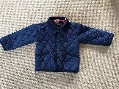 Baby boys navy blue quilted Joules coat age 18-24 months