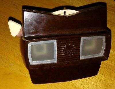 Rare Dark Brown Viewmaster Model C Viewer WORKS! W/ one slide included