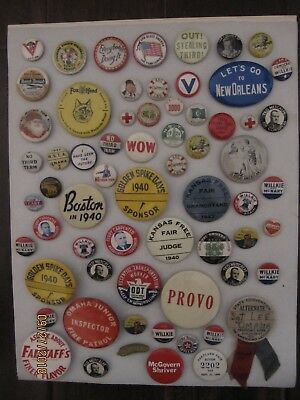 vintage badges assorted many different pins buttons