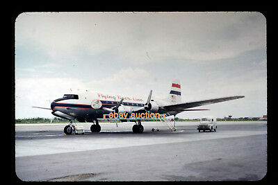 Original c1953 Slide, Flying Tiger Line N90910 Douglas C-54G at Wake Island dc-4