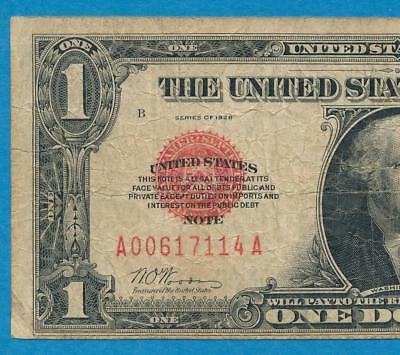 $1.00 1928 Red Seal Legal Tender Funny Back  Average Circulated