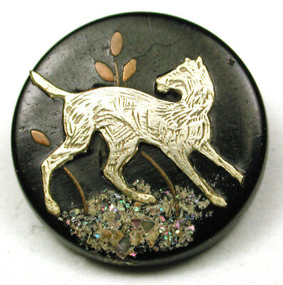"""BB Antique Horn Button w Silver Dog Inlay Nice Details  9/16"""""""
