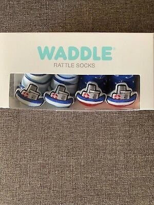 2 Pairs Waddle Rattle Socks NWT - Boats 0-12M