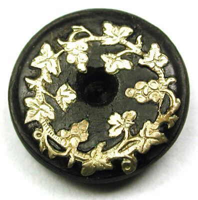 """BB Antique Horn Button w Silver Inlay of Grapes and Leaves  Whistle Type 5/8"""""""