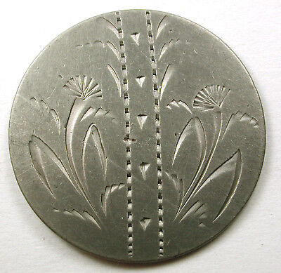 "BB Antique Aluminum Button Etched Flower & Bamboo 1 & 1/2"" Nice!"