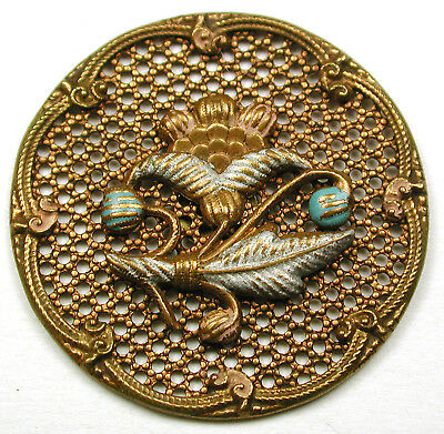 "BB Antique Brass Button Screen Back w Enamel Floral 1 & 1/4""  Unusual!"