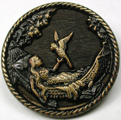BB Antique Brass Button Woman in Hammock holds Parrot Wood back   1 & 1/16""