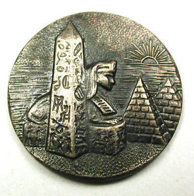 BB Antique Brass Button Egyptian Scene Sphinx Pyramid & Obelisk   3/4""